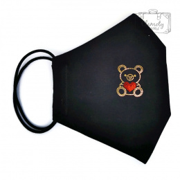 PROTECTIVE COTTON MASK BLACK GOLDEN DIAMOND BEAR AND RED HEART